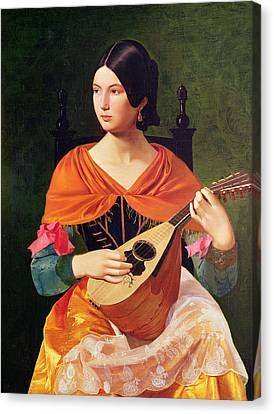 Young Woman With A Mandolin Canvas Print by Vekoslav Karas