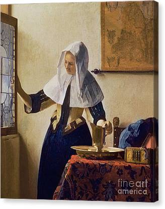 Jugs Canvas Print - Young Woman With A Water Jug by Jan Vermeer