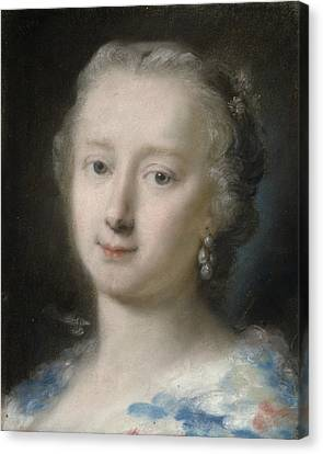 Young Woman With Flowers In Her Hair Canvas Print by Rosalba Carriera