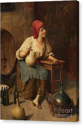 Women With Wine Canvas Print - Young Woman With Wine Jugs And Bottles by Celestial Images