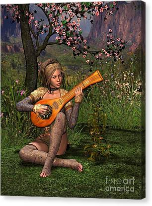 Young Women Playing The Lute Canvas Print by John Junek