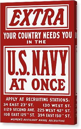 Your Country Needs You In The Us Navy Canvas Print by War Is Hell Store