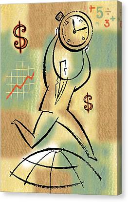 Canvas Print featuring the painting Your Income by Leon Zernitsky