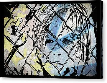 Youth Behind The Fence Canvas Print by Nicole Frischlich