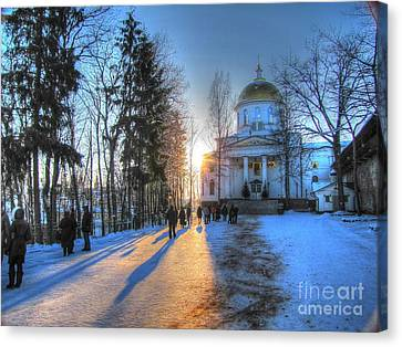 Yury Bashkin Russian Church In Winter Canvas Print by Yury Bashkin