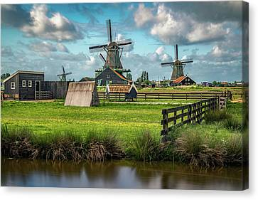 Zaanse Schans And Farm Canvas Print by James Udall