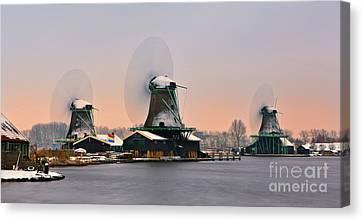 Zaanse Schans In Winter Canvas Print by Henk Meijer Photography