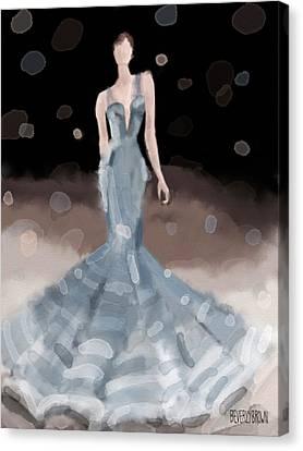 Zac Posen Grey Dress Fashion Illustration Canvas Print by Beverly Brown