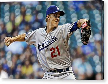 All Star Game Canvas Print - Zack Greinke Los Angeles Dodgers by Marvin Blaine