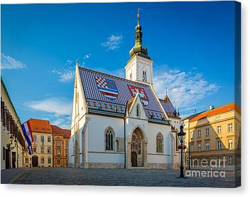 Rooftop Canvas Print - Zagreb St Mark's Church by Inge Johnsson