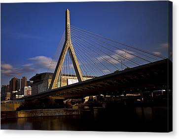 Zakim Bridge And Boston Garden At Sunset Canvas Print by Rick Berk