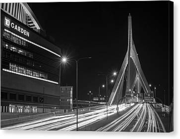 Zakim Bridge And Td Garden Boston Ma Long Exposure Black And White Canvas Print by Toby McGuire