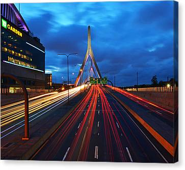 Zakim Bridge And Td Garden Boston Ma Canvas Print by Toby McGuire