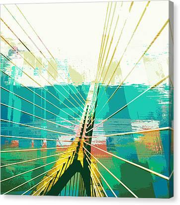 Charles River Canvas Print - Zakim Bridge Boston V1 by Brandi Fitzgerald