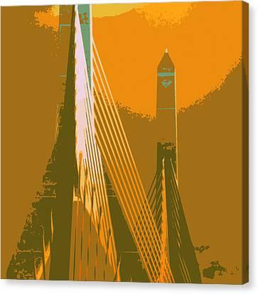Charles River Canvas Print - Zakim Bridge Boston V6 by Brandi Fitzgerald