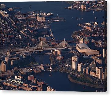 Canvas Print featuring the photograph Zakim Bridge In Context by Rona Black