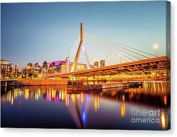 Zakim Bunker Hill Bridge At Night Boston Photo Canvas Print