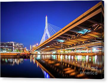 Zakim Bunker Hill Bridge At Night Photo Canvas Print