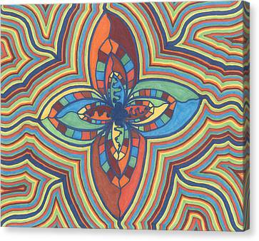 Canvas Print featuring the drawing Zany Flower by Jill Lenzmeier