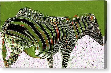 Canvas Print featuring the photograph Zany Zebra - Digitally Modified Photograph by Merton Allen