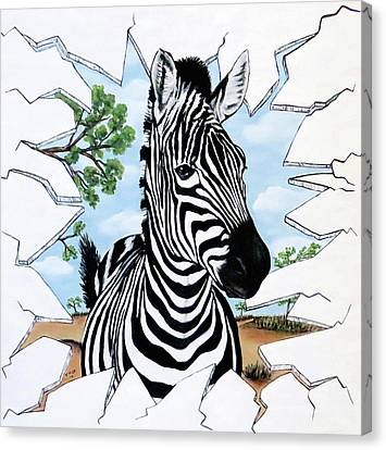 Canvas Print featuring the painting Zany Zebra by Teresa Wing