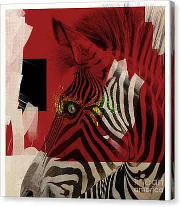Canvas Print featuring the digital art Zebra 4.0 by Nola Lee Kelsey