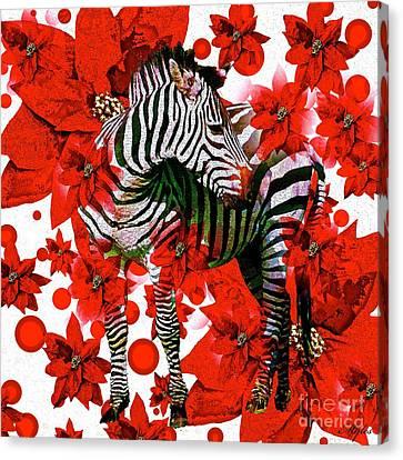 Zebra And Flowers Canvas Print by Saundra Myles