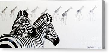 Zebra And Giraffe Canvas Print