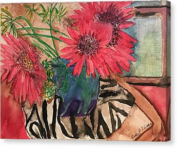 Zebra And Red Sunflowers  Canvas Print