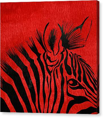 Zebra Animal Red Decorative Poster 5 - By Diana Van Canvas Print by Diana Van