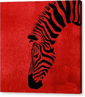 Zebra Animal Red Decorative Poster 7 - By  Diana Van Canvas Print by Diana Van