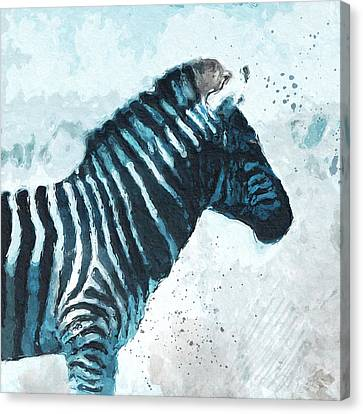 Zebra- Art By Linda Woods Canvas Print by Linda Woods