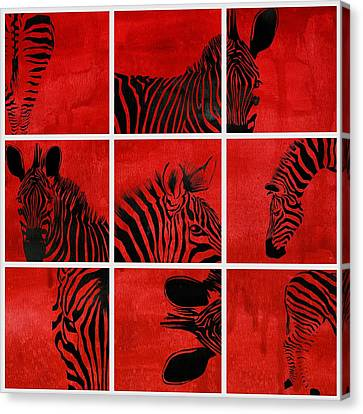 Zebra Animal Decorative Red  Multiptych  - By  Diana Van Canvas Print by Diana Van