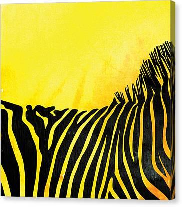 Zebra Animal Yellow Decorative Poster 4  - By  Diana Van Canvas Print by Diana Van