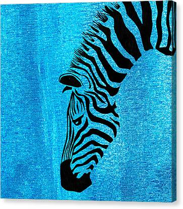 Zebra Animal Blue Decorative Poster 6 - By  Diana Van Canvas Print