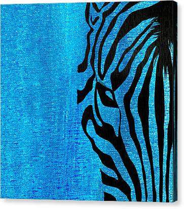 Zebra Animal Blue Decorative Poster 7  - By  Diana Van Canvas Print by Diana Van