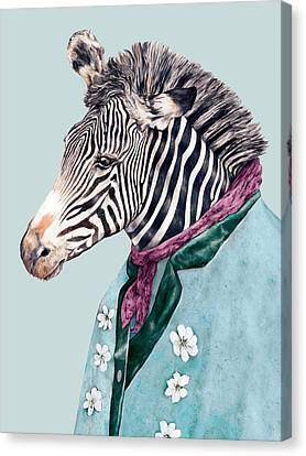 Zebra Blue Canvas Print by Animal Crew