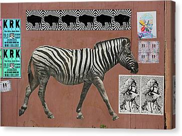 Canvas Print featuring the photograph Zebra Collage by Art Block Collections