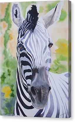 Zebra Crossing Canvas Print by Ally Benbrook
