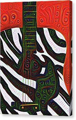 Zebra Guitar Rendering Canvas Print by Bill Cannon