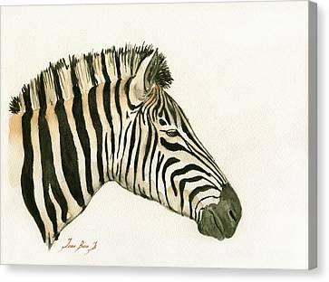 Zebra Head Study Painting Canvas Print by Juan  Bosco