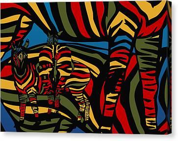 Zebra In The Jungle Canvas Print