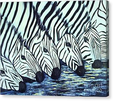 Canvas Print featuring the painting Zebra Line by Donna Dixon