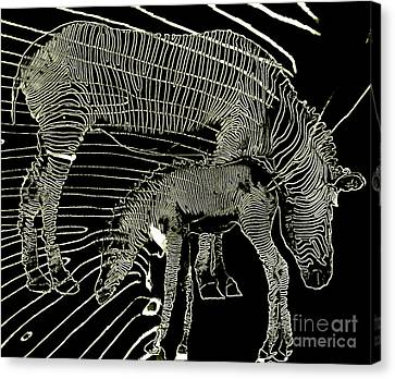 Canvas Print featuring the photograph Zebra Momma And Baby  by Irma BACKELANT GALLERIES