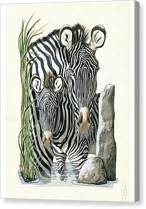 Zebra Mother And Colt Protect Our Children Painting Canvas Print