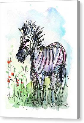 Zebra Painting Watercolor Sketch Canvas Print by Olga Shvartsur