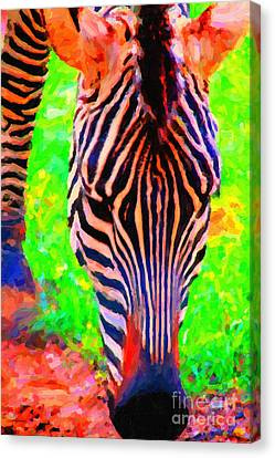Zebra . Photoart Canvas Print by Wingsdomain Art and Photography