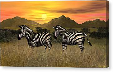 Zebra Sunset Canvas Print by Walter Colvin
