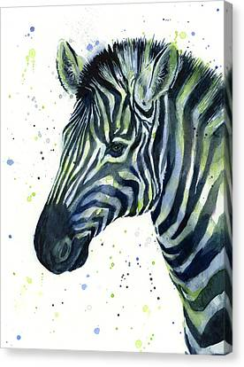 Zebra Canvas Print - Zebra Watercolor Blue Green  by Olga Shvartsur