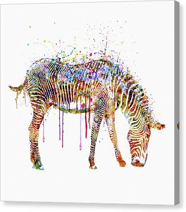 Zebra Canvas Print - Zebra Watercolor Painting by Marian Voicu